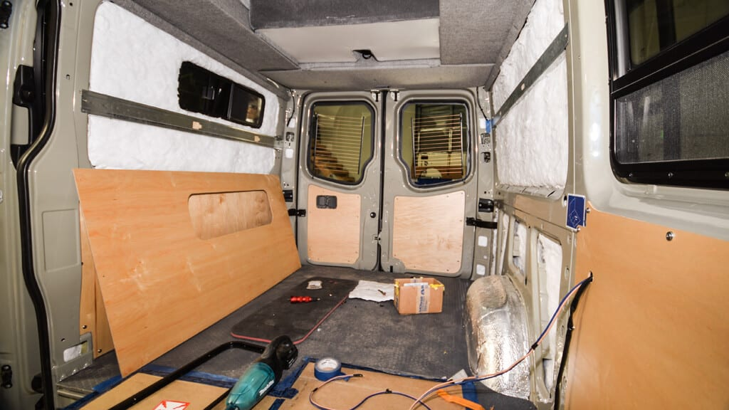 Sprinter van interior wood walls