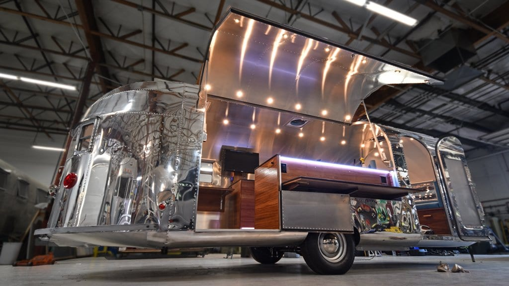 Custom Service Window in a Vintage Airstream Style Camper