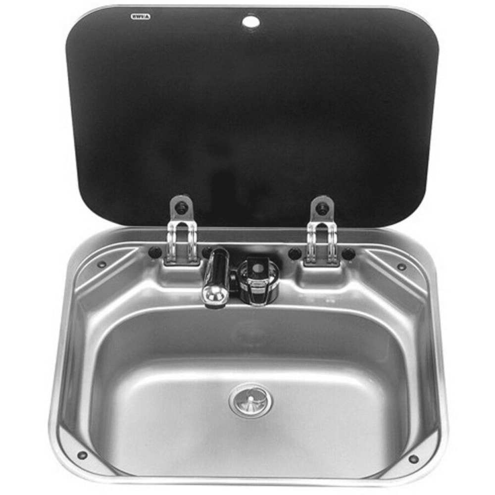 Dometic Stainless Steel Camper Sink w/ Glass Top -front view