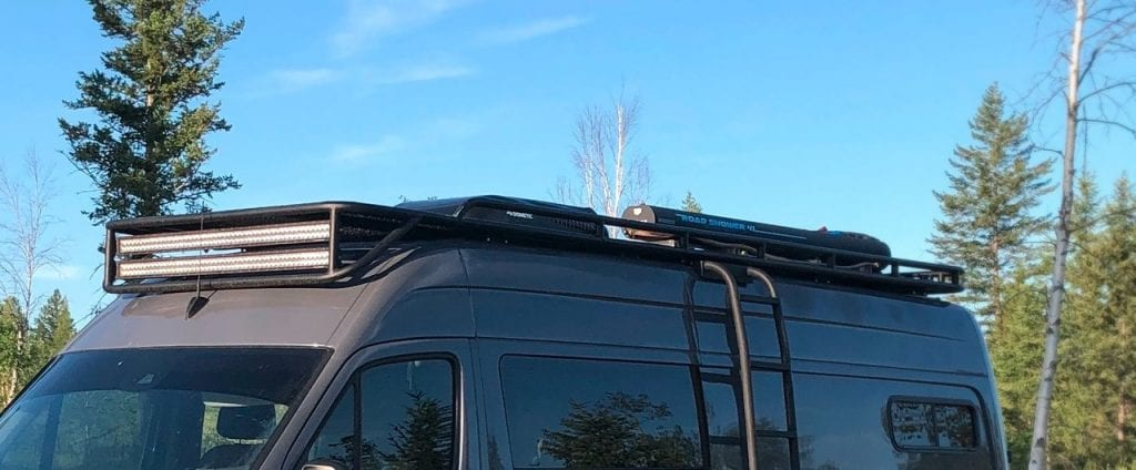 Outdoor Solar Shower for Sprinter camper van