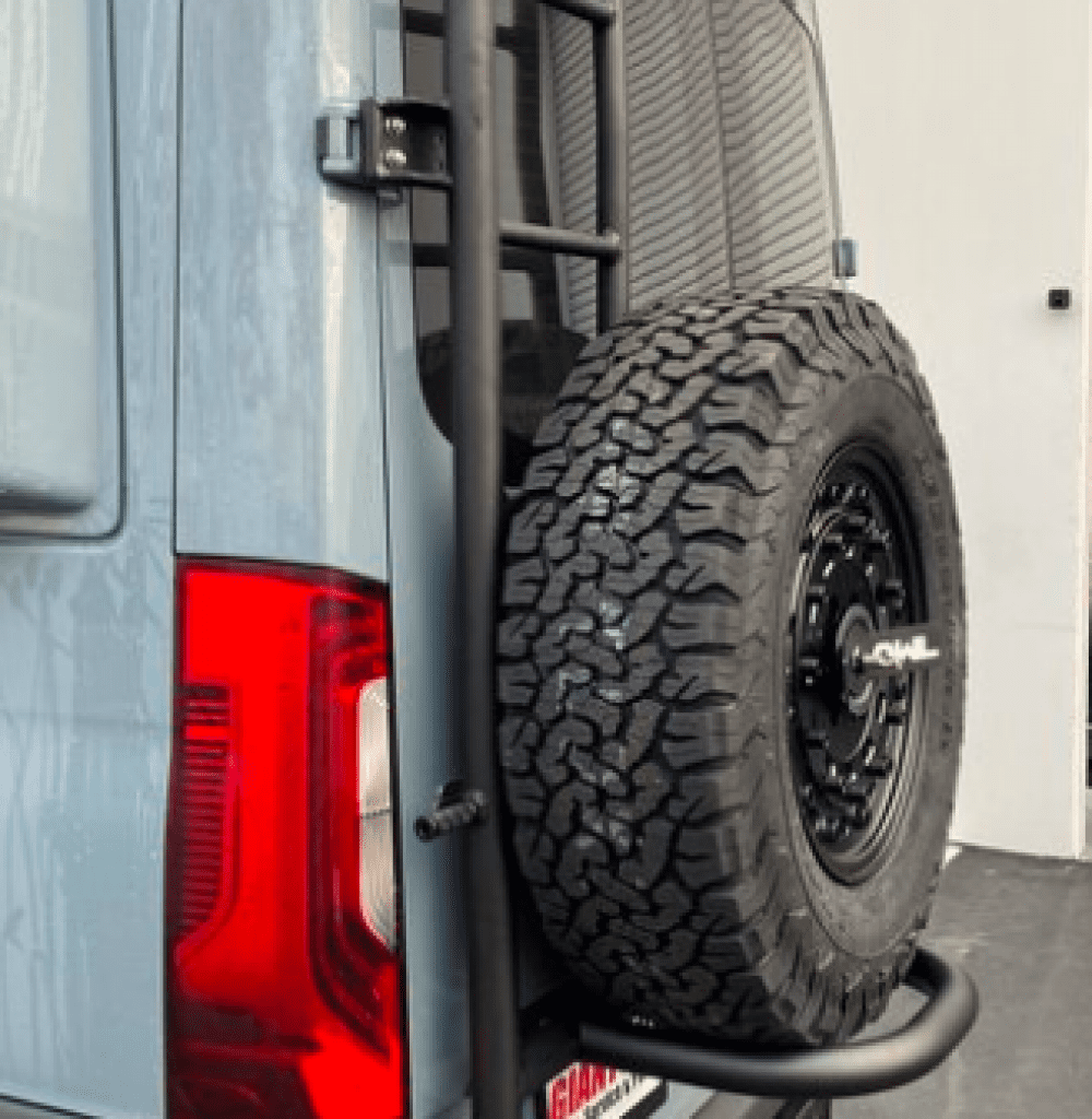 The Owl Vans Ladder + Spare Tire Carrier